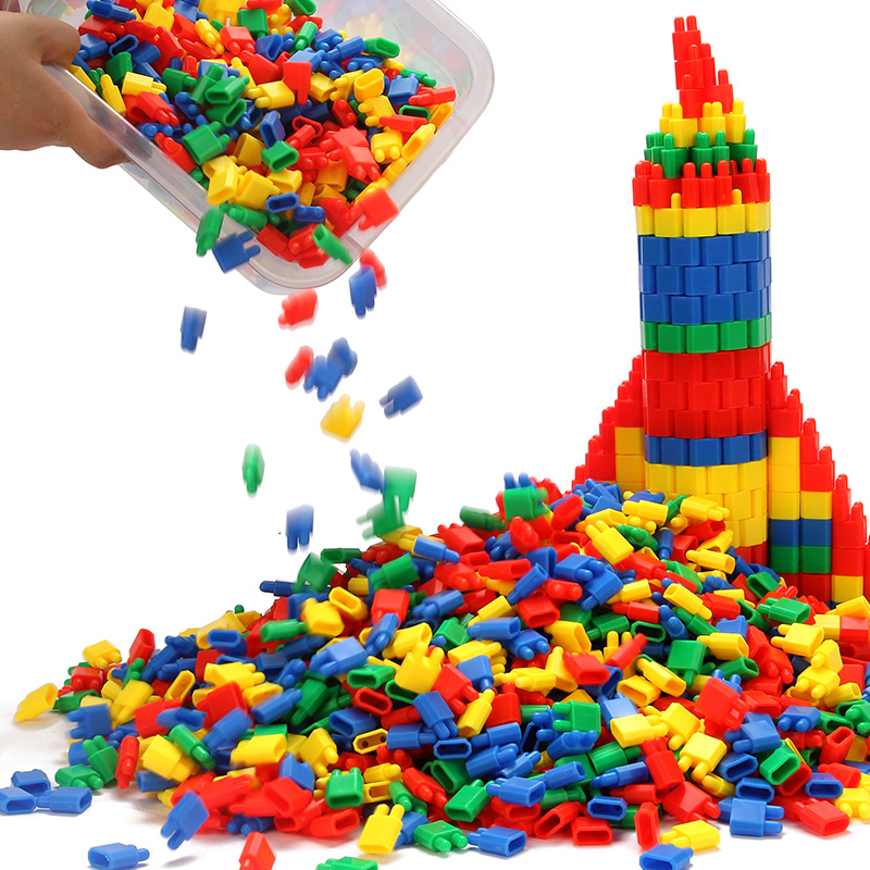 100-1000pcs Rocket Bullet Building Blocks Plastic Spell Insert Building Blocks Children Intelligence Toys LYQ