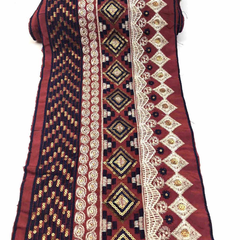 Bangsa Bunga Bordir Payet Renda Kain untuk Jahit Tas Pakaian Diy Aksesoris Bordir Renda Pita 23 Cm