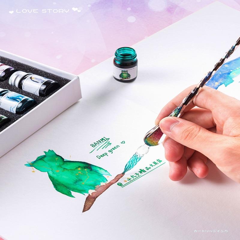 12 Color Glass Pen Ink Starry Sky Water Pen Dip Pen Color Ink Pen Feather Pen Set