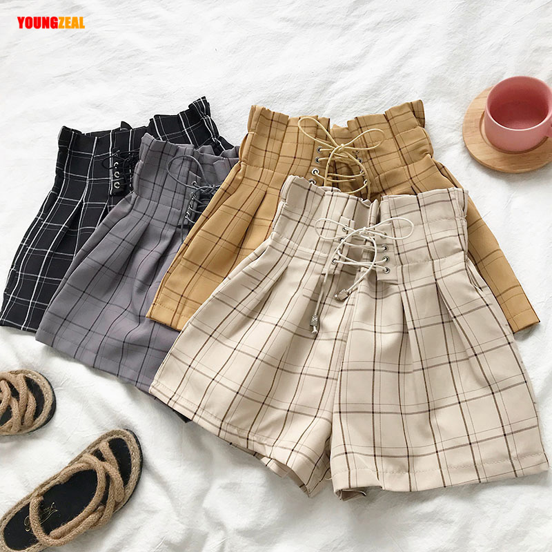 New Japanese Harajuku Vintage Plaid Summer Shorts Women 2020 Fashion Lace Up High Waist Wide Leg Shorts Hot Thin Pockets Shorts