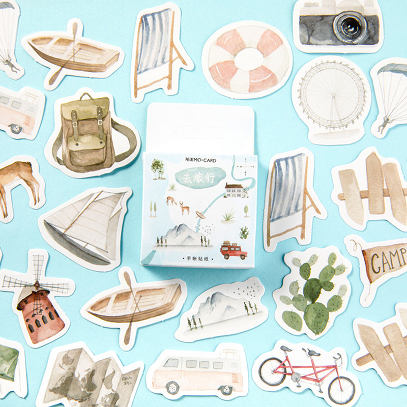 Go Journey Travel Bullet Journal Decorative Stationery Stickers Scrapbooking DIY Diary Album Stick Lable