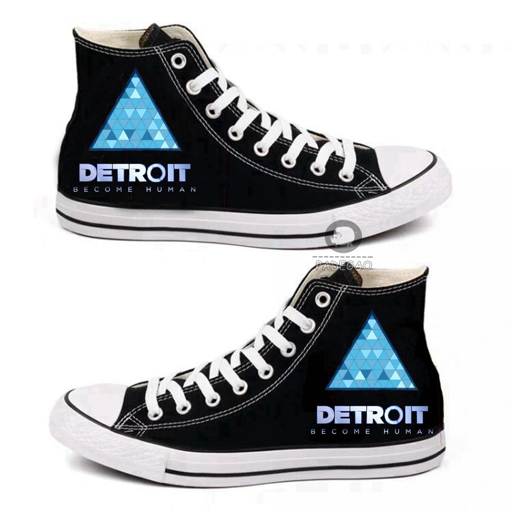 15Style Unisex Detroit: Become Human RK800 Cosplay Canvas Shoes Casual School Student High Tops Daily Boots Autumn Cartoon Shoes