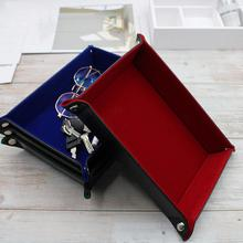 Folding Candy Snack Storage Tray Rectangle Leather Dice Rolling Pad Portable Trays Decorative