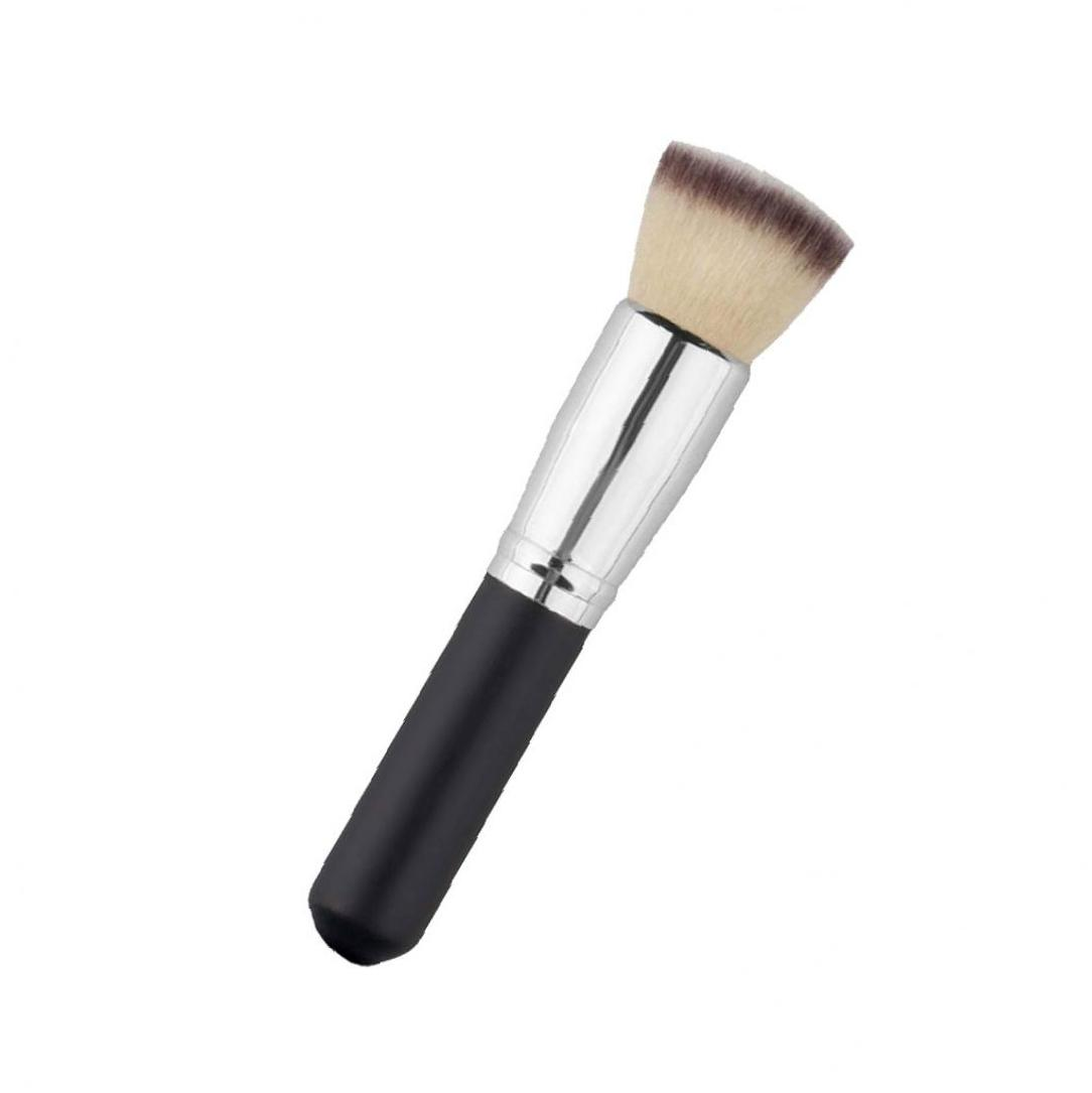 Makeup Brush Professional Soft Comestic Brush Kabuki Face Powder Blush Foundation Flat Top Tool Black Silver Color