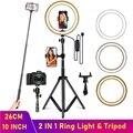 Dimmbare LED Selfie Ring Füllen Licht Telefon Kamera Led Ring Lampe Mit Stativ Für Make-Up Video Live Aro De Luz para Hacer Tik Tok