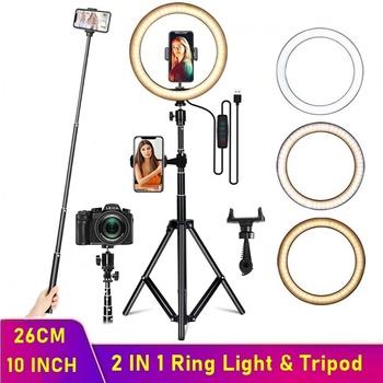 Możliwość przyciemniania LED Selfie pierścień wypełnić światło aparat telefoniczny Led lampa pierścieniowa ze statywem do makijażu wideo na żywo Aro De Luz Para Hacer Tik Tok tanie i dobre opinie TONGDAYTECH Canon NIKON Sony SAMSUNG 3300k-6000k USB Port NONE CN (pochodzenie) ring light Pakiet 1 aros de luz 900g Portable