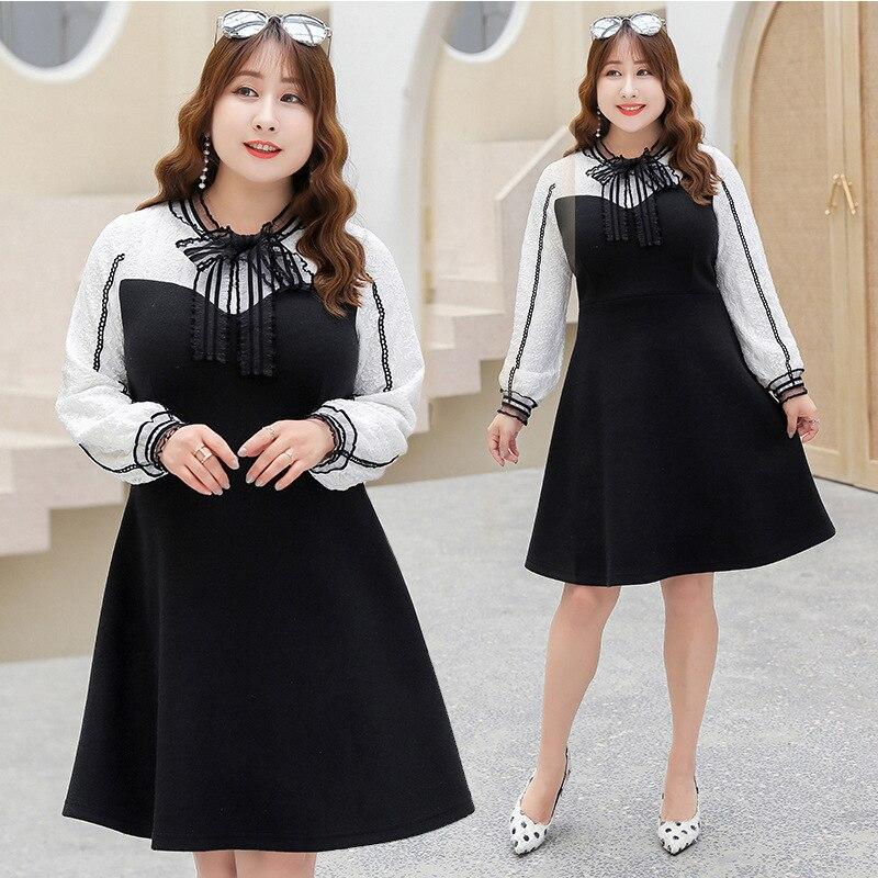 2018 Wool Korean-style Winter Large Size Dress Sweet Solid Color Versatile Large Size Fat Mm Dress K600