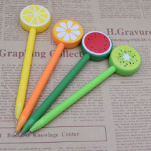 Gel Pen 0.5 mm Black Ink Cute Fruit School Supply Office Stationery Lemon Orange Watermelon Kiwi Type Writing Materials