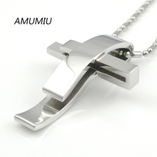 AMUMIU Silver Color Cross Stainless Steel Pendant Necklace Men Women Chain Jewelry Christmas Gifts Wholesale KP101 women silver luxury 316l stainless steel necklace fashion cross heart chain pendant jewelry accessories friendship necklace