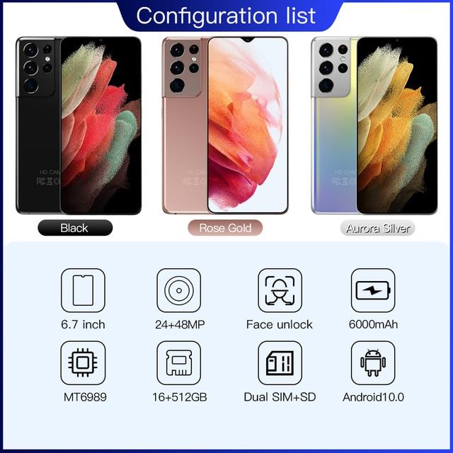 Global Version Galay S21 Ultra 4G/5G 16GB RAM 512GB ROM Dual Sim Unlocked Mobile Phones Cell Phone Celular Smartphone 6