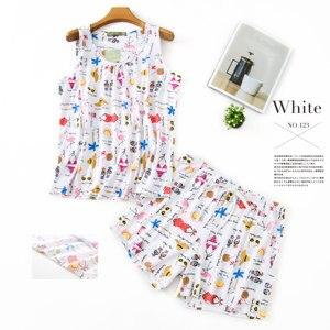 Image 5 - プラスサイズのかわいいクマのパジャマセット韓国綿60% ノースリーブ甘い漫画夏のショートパジャマ女性パジャマ