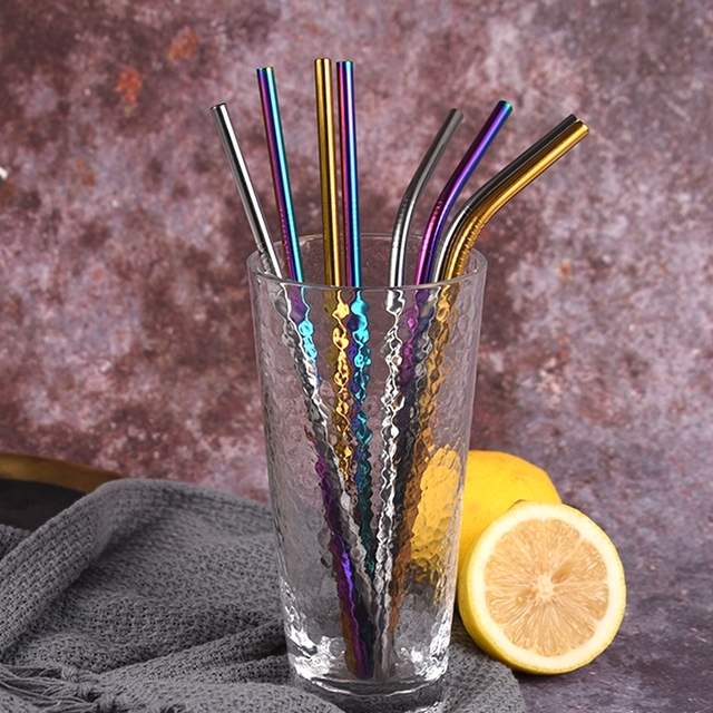 Mixing Color Reusable Metal Drinking Straws 304 Stainless Steel Straw Set with Cleaner Brush Bar Drinkware Party Accessory