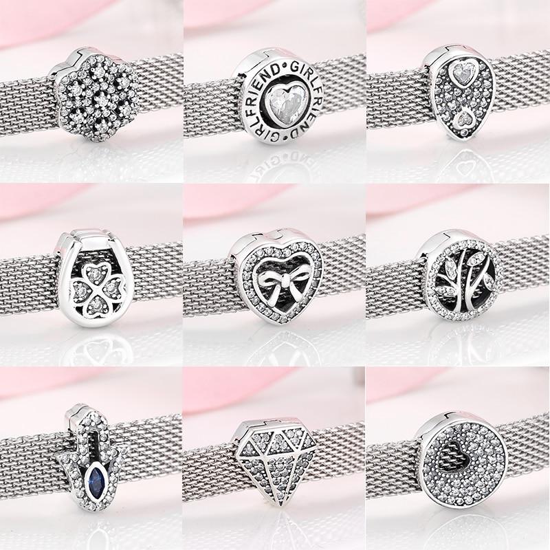 Nouveau 925 en argent Sterling coeur et forme ronde scintillant CZ clips perles ajustement Original reflets Bracelet à breloques fabrication de bijoux
