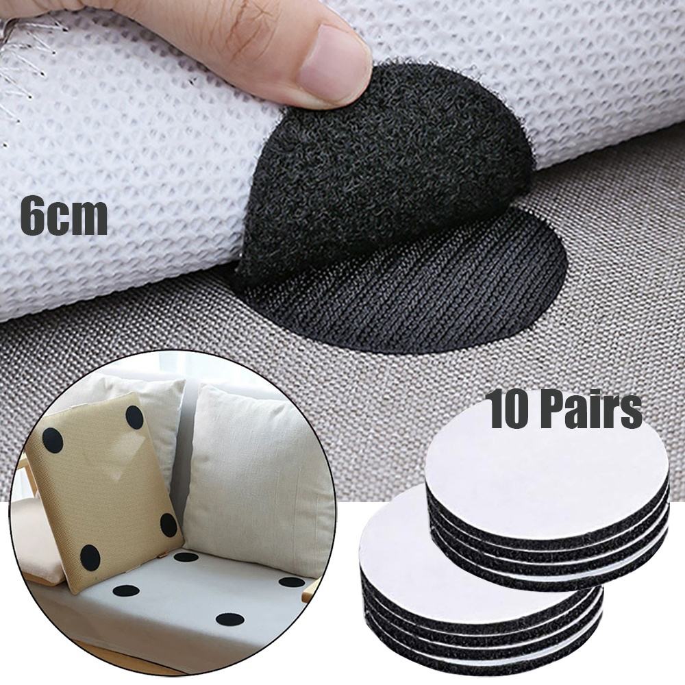 20pcs/10 Pairs Anti Curling Carpet Tape Rug Gripper Velcro Secure The Carpet Sofa And Sheets In Place And Keep The Corners Flat
