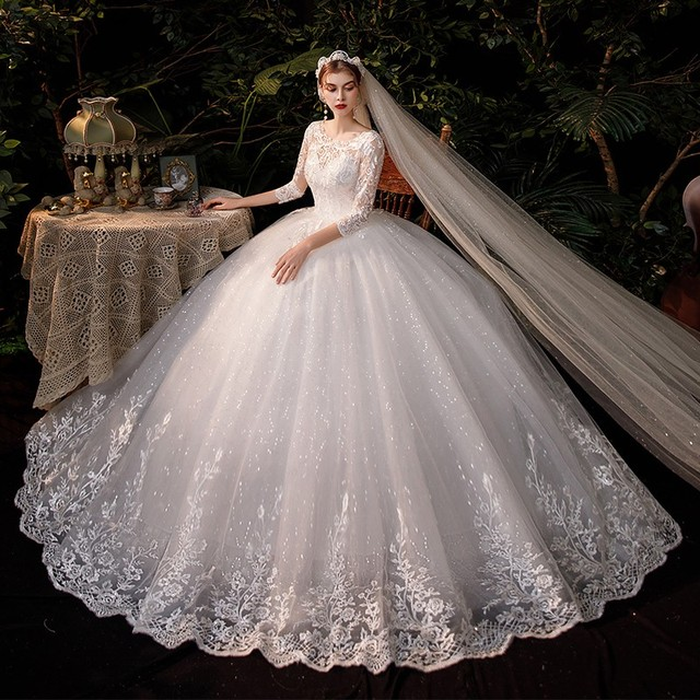 New Sweetheart Three Quarter Elegant Wedding Dress With Sleeve Long Lace Embroidery Train Bridal Gown Plus Size Vestido De Noiva 5