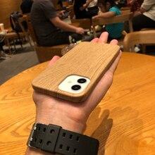 Luksusowe etui na telefon z drewna ziarna dla iPhone 12 11 Pro Max Mini XS X XR 7 8 Plus SE 2020 Retro PU skóra miękka osłona ochronna Capa