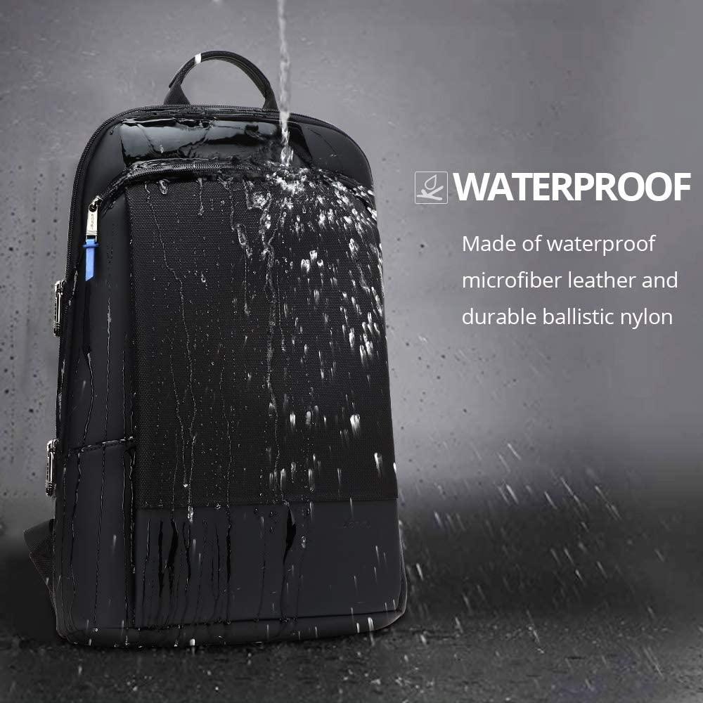BOPAI Slim Laptop Backpack Men 15.6 Inch Pack Office Work Women Bagpack Business Anti Theft Unisex Black Thin Light Backpacking