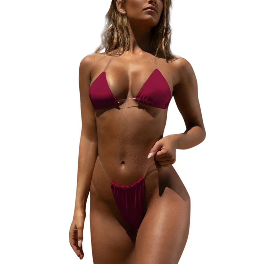 2020 Newest Women Hot Sexy Biquini Push-Up Padded Brazilian Bathing Suit Transparent Straps Split Underwear Set Female Intimates