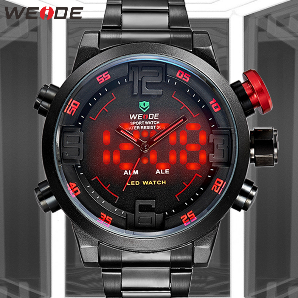 WEIDE Sport Calendar Led Digital Automatic Date Alarm Military Men Quartz Black Wristwatch Relogio Masculino Clock Chronograph