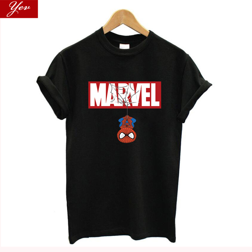 New Fashion Harajuku Iron Spiderman T-Shirt Women MARVEL 100% Cotton Avengers Tshirt Women Hipster For Famale Top Women Clothes