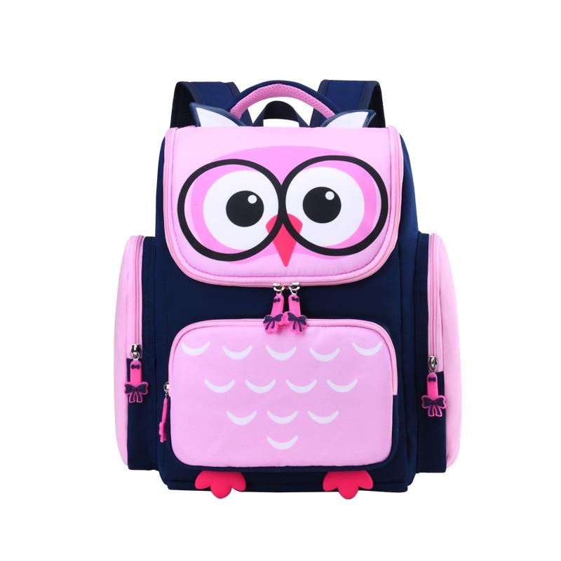 Anime Owl School Bags for Girls Boys Kids Cartoon Primary Backpack Orthopedic Owl Schoolbags Children Mochila Infantil Pink Blue