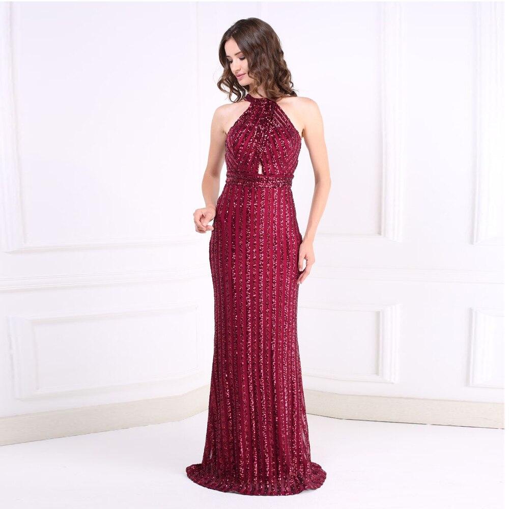 Bourgogne scintillant étincelle licou nuit robe de soirée O cou évider sans manches rayé paillettes étage longueur longue robe