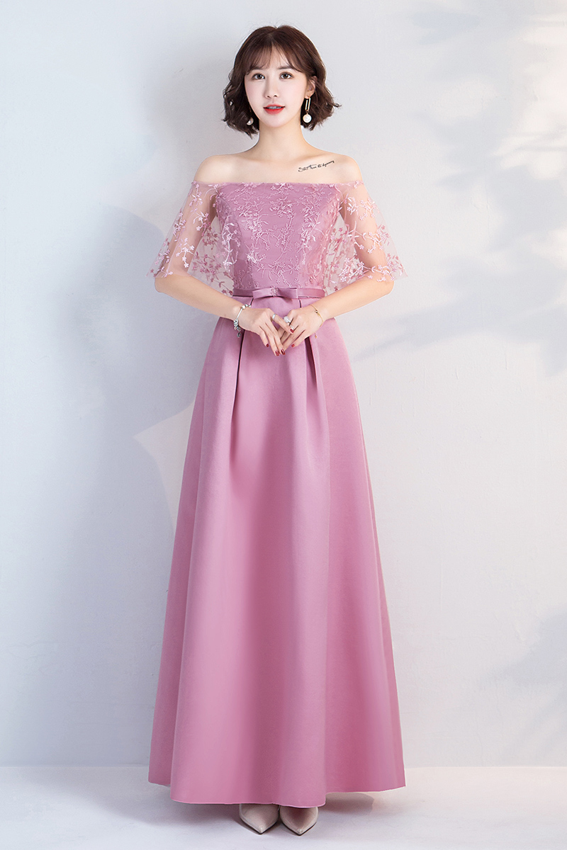 A-Line Boat Neck Long Dress For Wedding Party Woman Pink Bridesmaids Dress Elegant Embroidery Taffeta Sexy Prom Dress Vestido