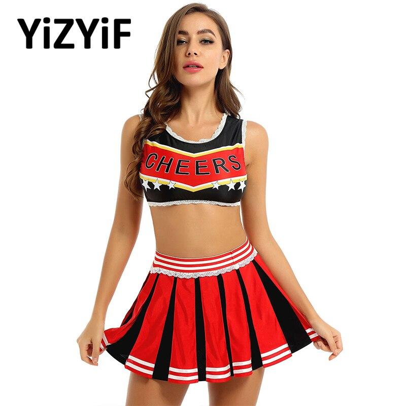Women Cheerleader Costume Cheer Uniform Stage Performance Dance Competition Costume Vest Crop Top With Pleated Skirt Dancewear