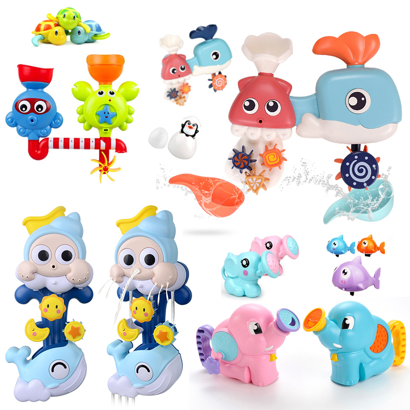 Kids Shower Bath Toys Cute Waterwheel Toys Baby Fawcett Bathing Shower Educational Kid Toy Spray Tool Dabbling Toy For Children