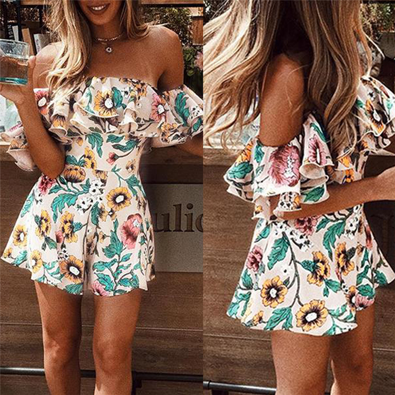 Summer Women Fashion Short Off Shoulder Jumpsuits Overall New Lady Floral Printed Playsuit Beach Holiday Wear Ruffle Romper
