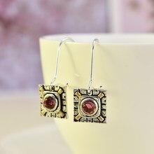 Boucles d'oreilles ethniques rétro pour femmes, pendantes, pendentif, breloque, cristal rouge, Vintage, bohème, 2020