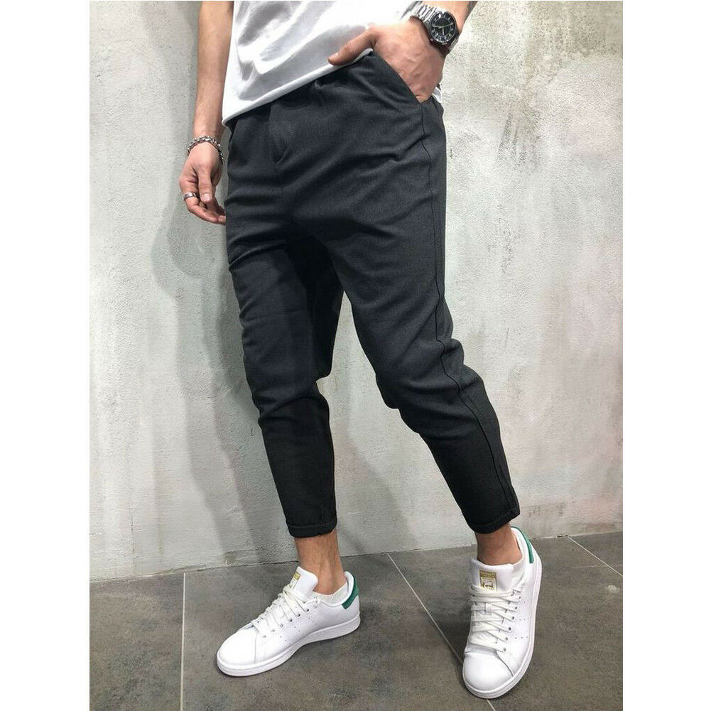 New Men Pant Long Trousers Office Pencil Straight Slim fit Small feet Sweatpants