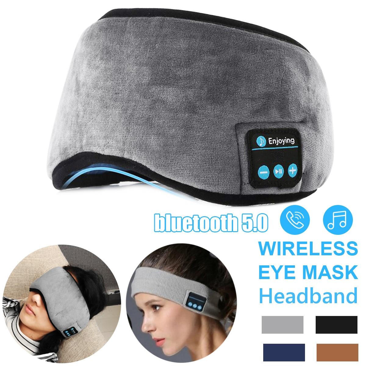 Wireless bluetooth 5 0 Earphones Sleeping Eye Mask Music player   Sports headband Travel Headset Speakers Built-in Speakers Mic