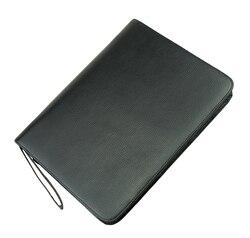 Авторучка из натуральной кожи/чехол для ручки-роллера для 46 ручек из воловьей кожи, черный держатель для ручек, сумка для карандашей, подход...