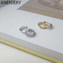 ANENJERY de Plata de Ley 925 romana plateada número círculo aro geométrico pendientes para las mujeres Retro oro plata accesorios oído S-E1442