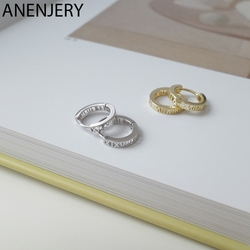 ANENJERY 925 Sterling Silver Roman Numeral Circle Geometric Hoop Earrings For Women Retro Gold Silver Ear Accessories S-E1442