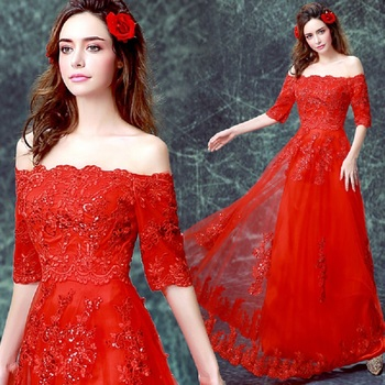 2019 new arrival stock plus size bridal gown wedding party long A line Boat neck sexy simple Red Lace evening dresses 0608