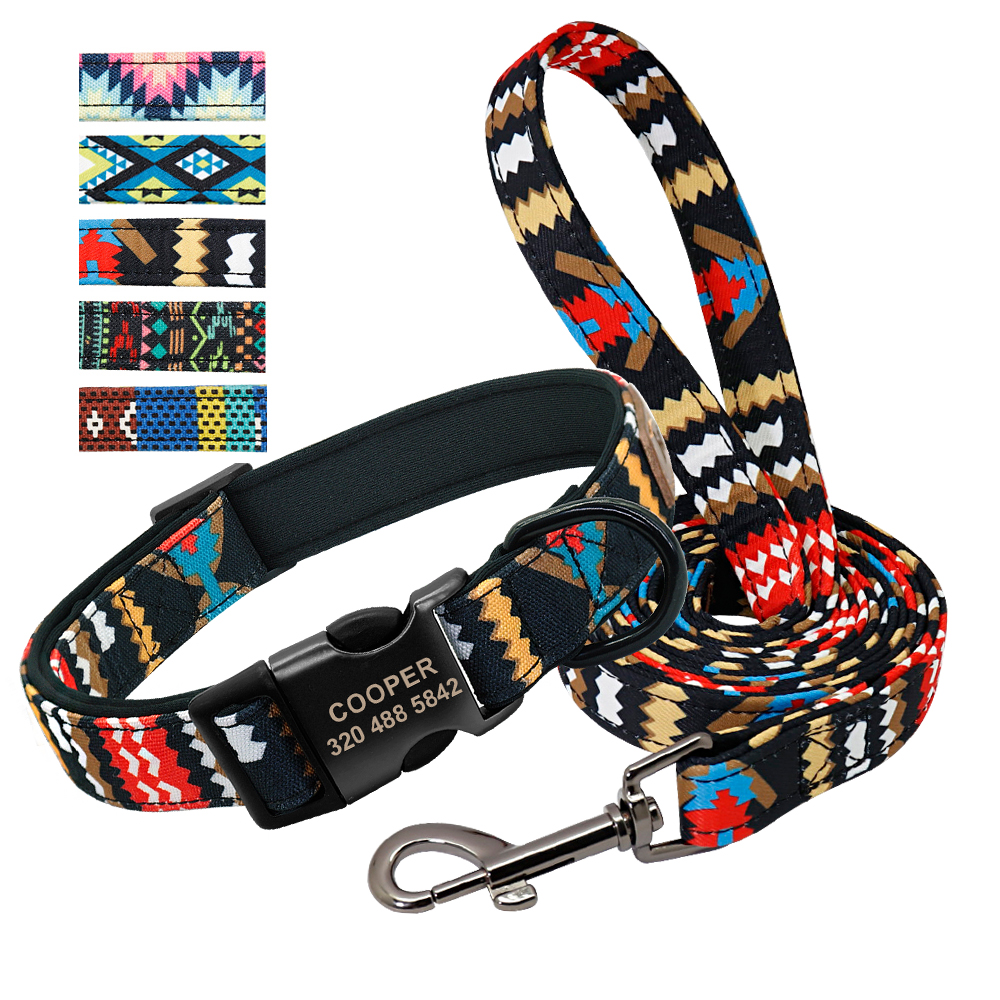 Leash - Personalised Dog Collar With Leash Nylon Custom Pet ID Collars Colorful Printed Dogs Walking Leash for Small Medium Large Dogs