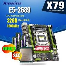 Atermiter X79 X79G 마더 보드 LGA2011 미니 ATX 콤보 E5 2689 CPU 4pcs x 8GB = 32GB DDR3 RAM 1600Mhz PC3 12800R