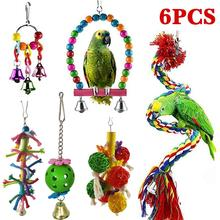 6Pcs Bird Swing Chewing Toys- Parrot Hammock Bell Toys Parrot Cage Toy Bird Perch with Wood Beads Hanging for Small Parakeets 8pcs parrot toys birds toys swing bird chewing toys birds cage toys