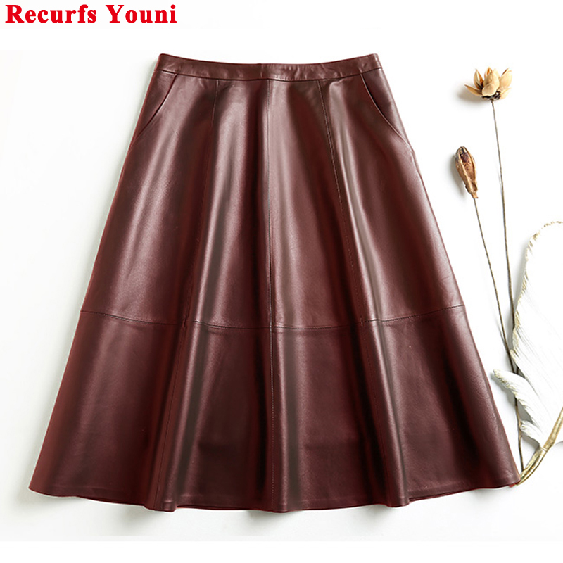 Vintage Ropa Winter Women Genuine Leather Thin A-line Pleated Skirts Femme Wine Red/Black 65cm Long Jupe Mujer Casual Etek Steet image