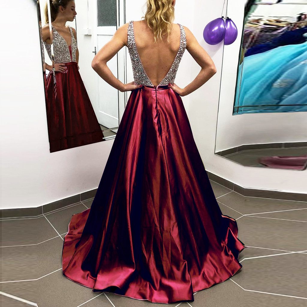 Women Dress sexy dress V Neck Gown Sequins Formal Prom Long Dress Casual Party Dress Vintage