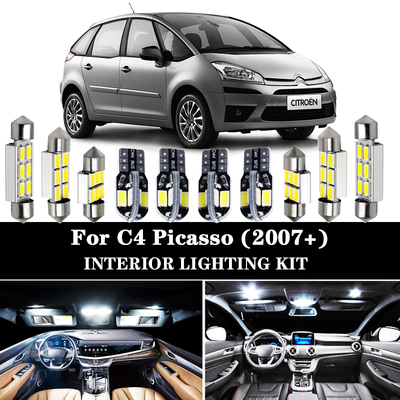 Perfect White Canbus LED Bulb Interior Dome Map Light Kit For Citroen Accessories For C4 Picasso For C4 Grand Picasso (2007+)