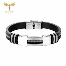 Cuff Bracelet Rubber-Belt Silver-Color Jewelry Network-Chain Stainless-Steel Cool Men