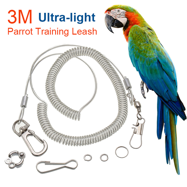 3M Parrot Bird Flying Training Leash Ultra-light Flexible Rope Anti-bite with Leg Ring Harness Outdoor Macaw Cockatiel Starling 1