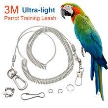 3 m papagaio pássaro voando treinamento trela ultra-leve corda flexível anti-mordida com perna anel arnês ao ar livre arara cockatiel starling