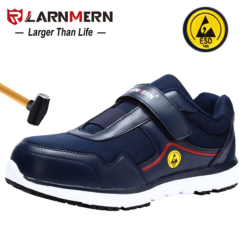 LARNMERN Mens Work Shoes ESD Safety Shoes Steel Toe Anti-smashing Non-slip Reflective Construction Protective Footwear