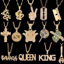 Hip Hop zinciri kolye kaya buzlu Out Bling kolye altın gümüş renk zincirleri kolye takı kadın erkek rapçi aksesuarları