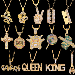 Hip Hop Chain Necklace Rock Iced Out Bling Pendant Gold Silver Color Chains Necklaces Jewelry For Women Men Rapper Accessories