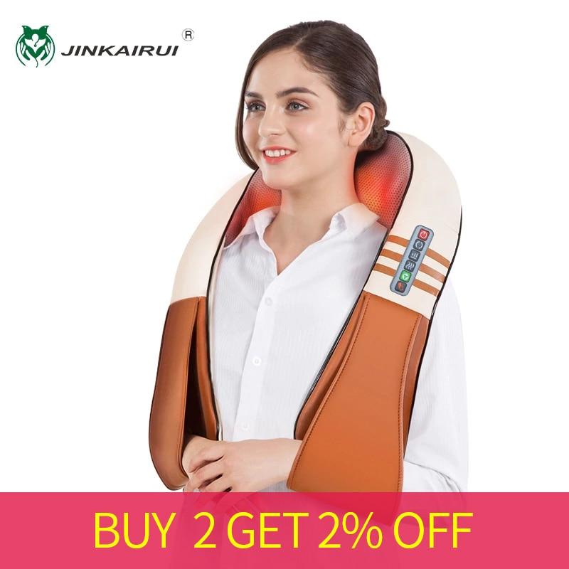 JinKaiRui Electrical Shiatsu Back Neck Shoulder Body Massager Infrared Heated Kneading Car/Home Massagem Masajeador heal-in Massage & Relaxation from Beauty & Health    1